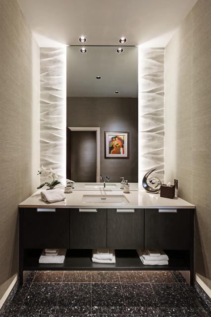 Golf course modern contemporary powder room for Bathroom design 7x12