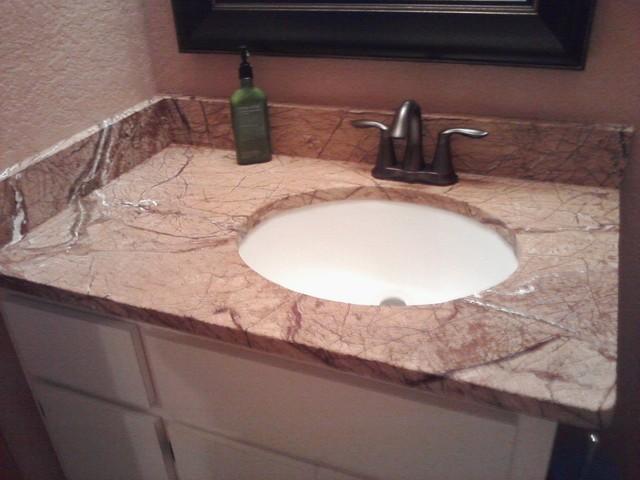 Granite and Quartz tops traditional-powder-room