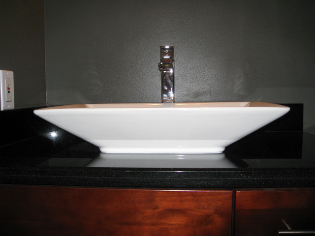 Granite Vanity Top, Raised Sink & Deck Mount Faucet contemporary ...