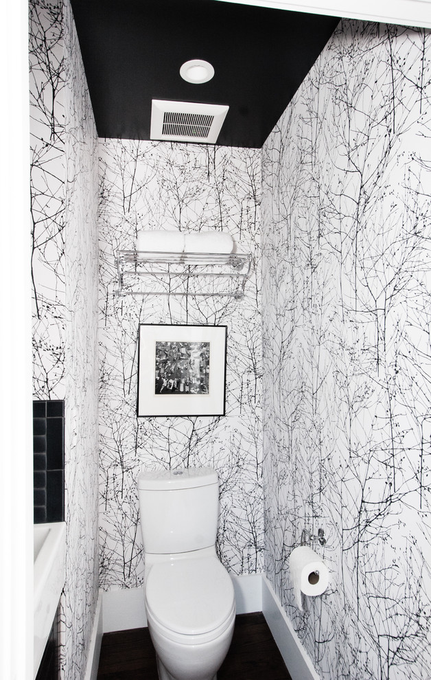 Inspiration for a contemporary wallpaper powder room remodel in San Francisco with white walls and a two-piece toilet