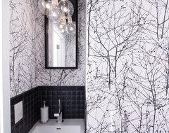 Graphic Half Bath midcentury-powder-room