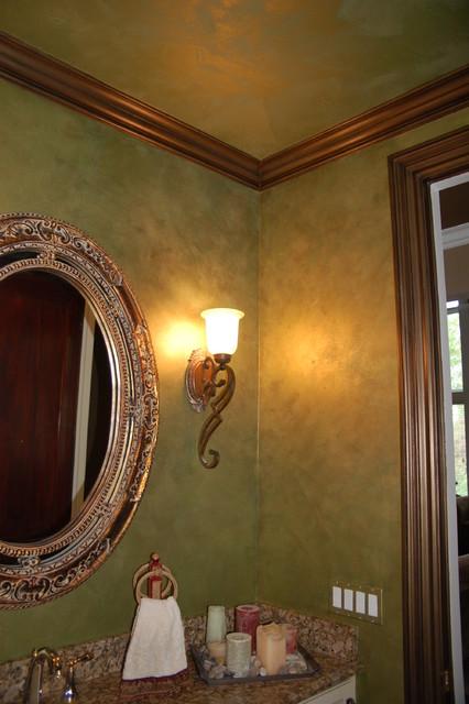 Green Apple Metallic Plaster Walls Ceiling Bronze Glazed Trim