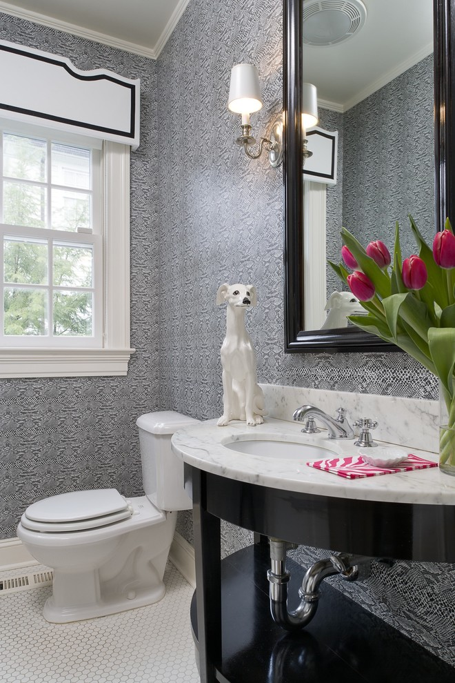 Powder room - contemporary powder room idea in New York with an undermount sink, open cabinets, black cabinets and white countertops