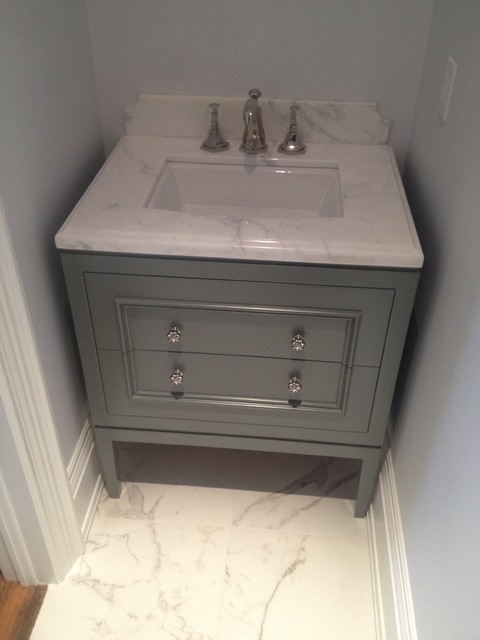 Powder room vanities grey vanity powder room vanities for Powder bathroom vanities