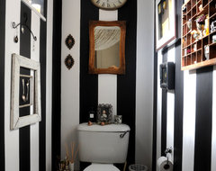 Guest Bathroom Stripes eclectic powder room