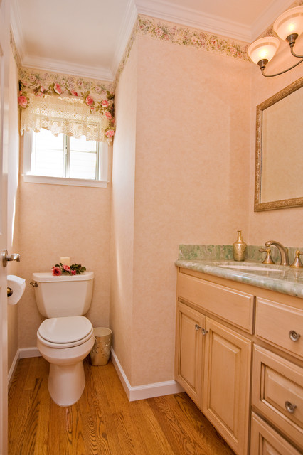 Guest Bathroom With Small Toilet Niche Traditional Powder Room