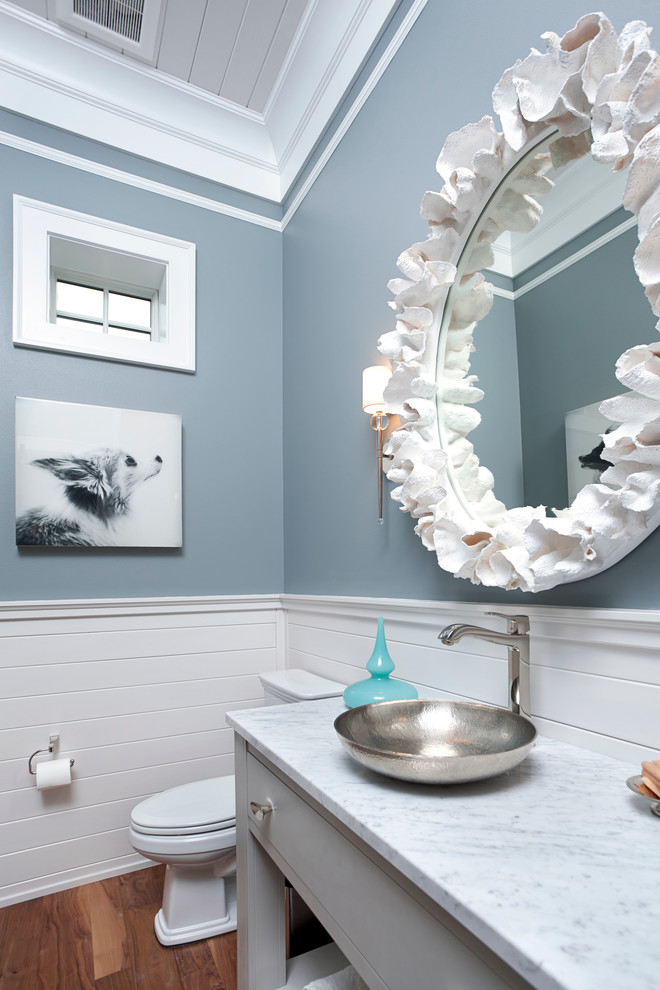 Transitional powder room photo in Miami with a vessel sink, flat-panel cabinets and gray cabinets