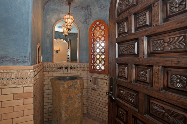 Hacienda Powder Room Mediterranean Powder Room San