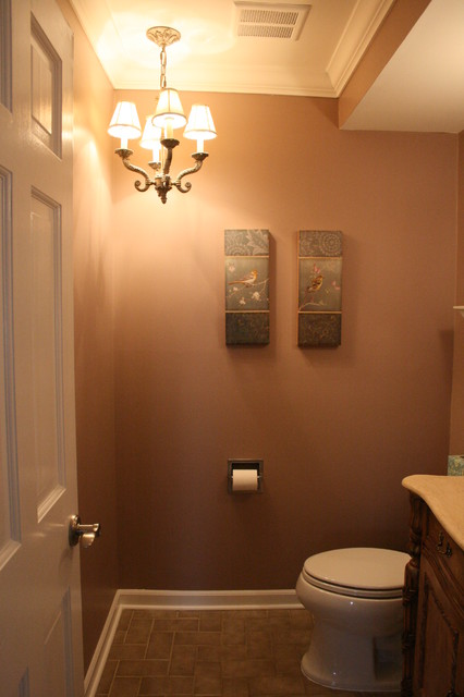 half-bath with chandelier - Traditional - Powder Room