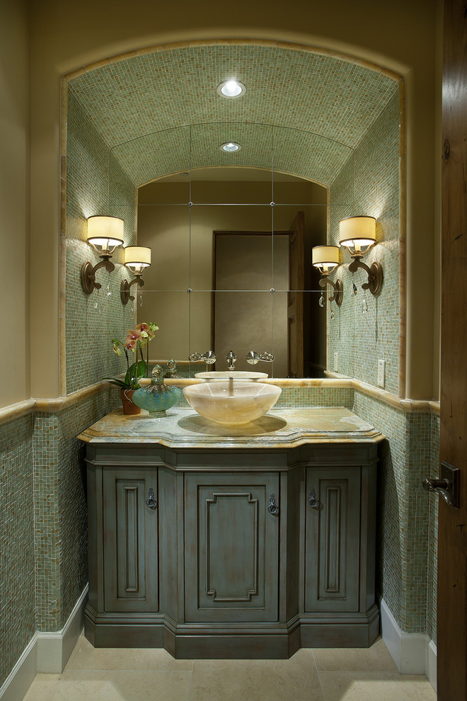 Inspiration for a contemporary powder room remodel in Phoenix with marble countertops, a vessel sink, blue cabinets and green countertops