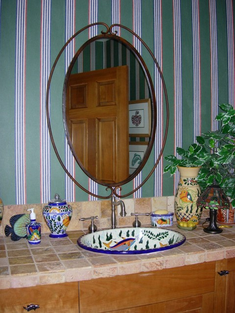 Hand Painted Mexican Sink traditional-powder-room