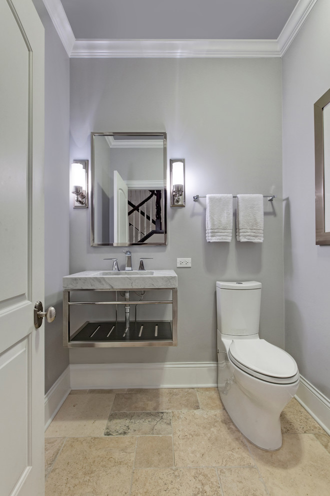 Powder room - transitional powder room idea in Chicago