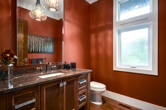 Example Of A Transitional Powder Room Design In Vancouver With An  Undermount Sink And Brown Countertops