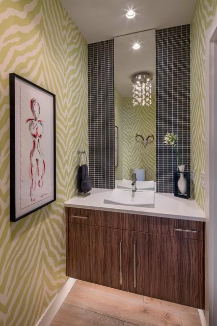Hill country modern contemporary powder room austin for Bathroom design 7x12