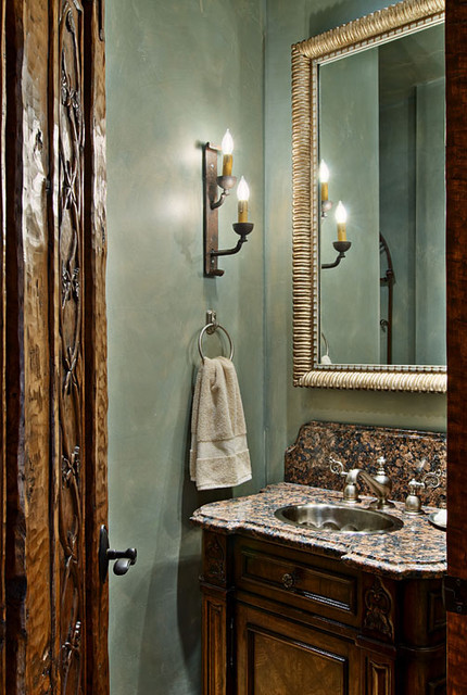 Hill Country Ranch Powder Room traditional powder room