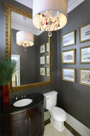 Hollywood Baroque Powder Room eclectic powder room