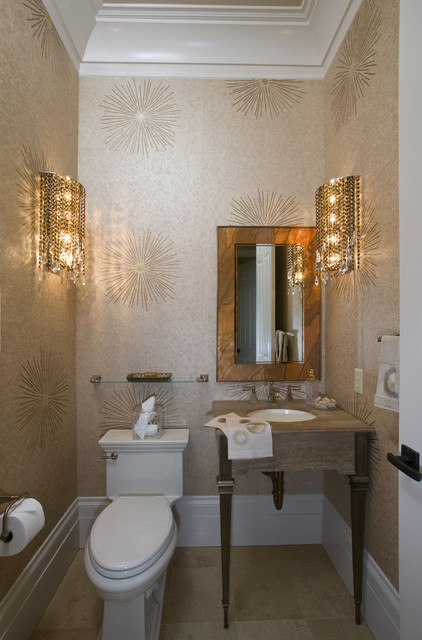 Hollywood Regency Powder Room - Robert Naik photography contemporary-powder-room