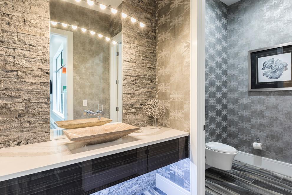Example of a trendy powder room design in Orlando