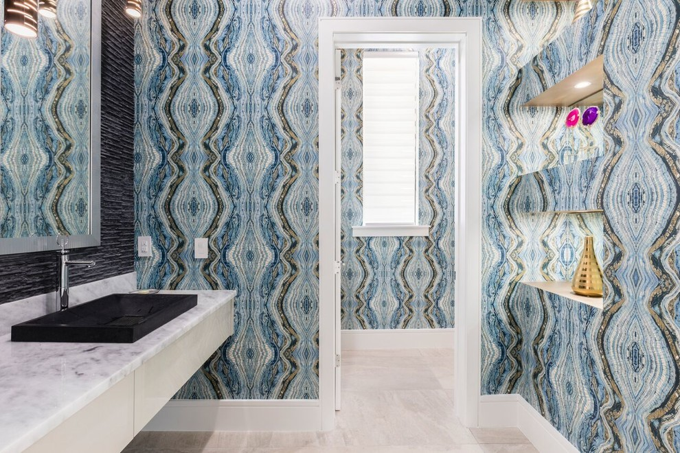 Inspiration for a contemporary powder room remodel in Orlando