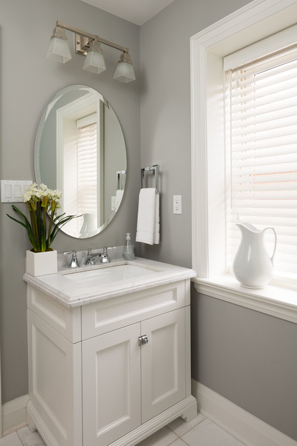 Home sweet home transitional powder room toronto for Bathroom ideas grey vanity