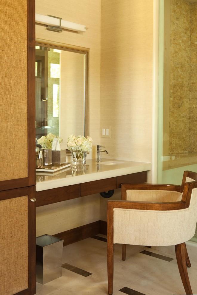 Powder room - contemporary powder room idea in Orange County with an undermount sink