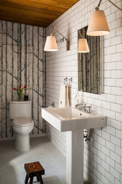 Inspiration for a small contemporary white tile and subway tile mosaic tile floor powder room remodel in Raleigh with a pedestal sink, a two-piece toilet and white walls