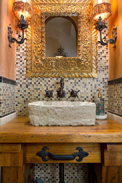 Italian Inspired Powder Room Mediterranean Bathroom San Diego By Dw Design