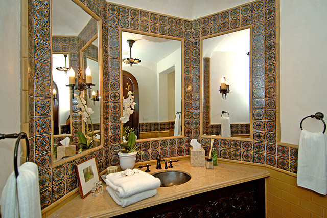 Joni Koenig Interiors mediterranean-powder-room