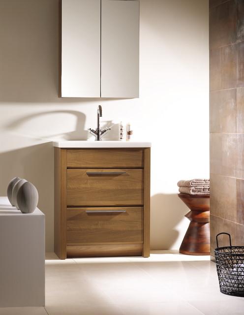 Kato 27 bathroom vanity walnut contemporary powder for Modern powder room vanity