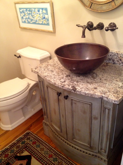 Keowee Shores Custom Home eclectic powder room