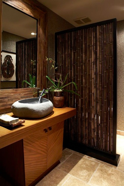 Knudson interiors tropical powder room hawaii by for Japanese inspired bathroom design