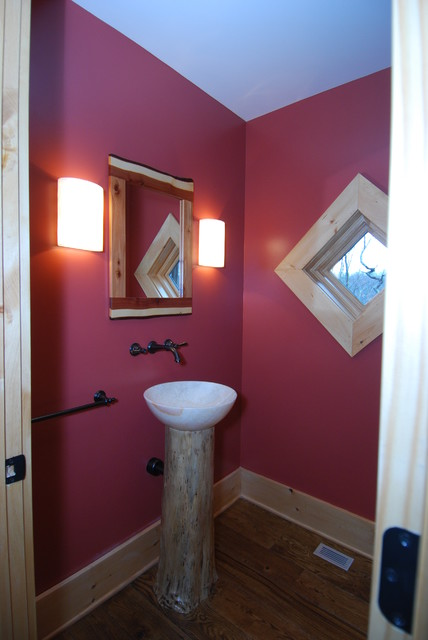 Lake house eclectic-powder-room