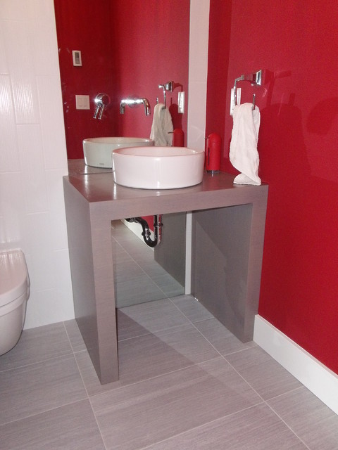 Large Contemporary Contemporary Powder Room Other Metro By Ok Woodcrafters Co