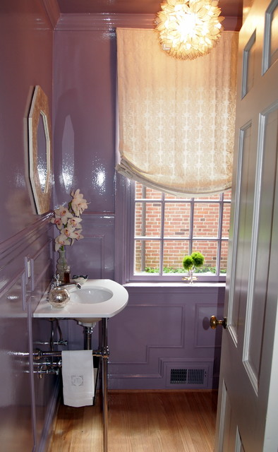 Lavender Lacquered Powder Room Traditional Powder Room