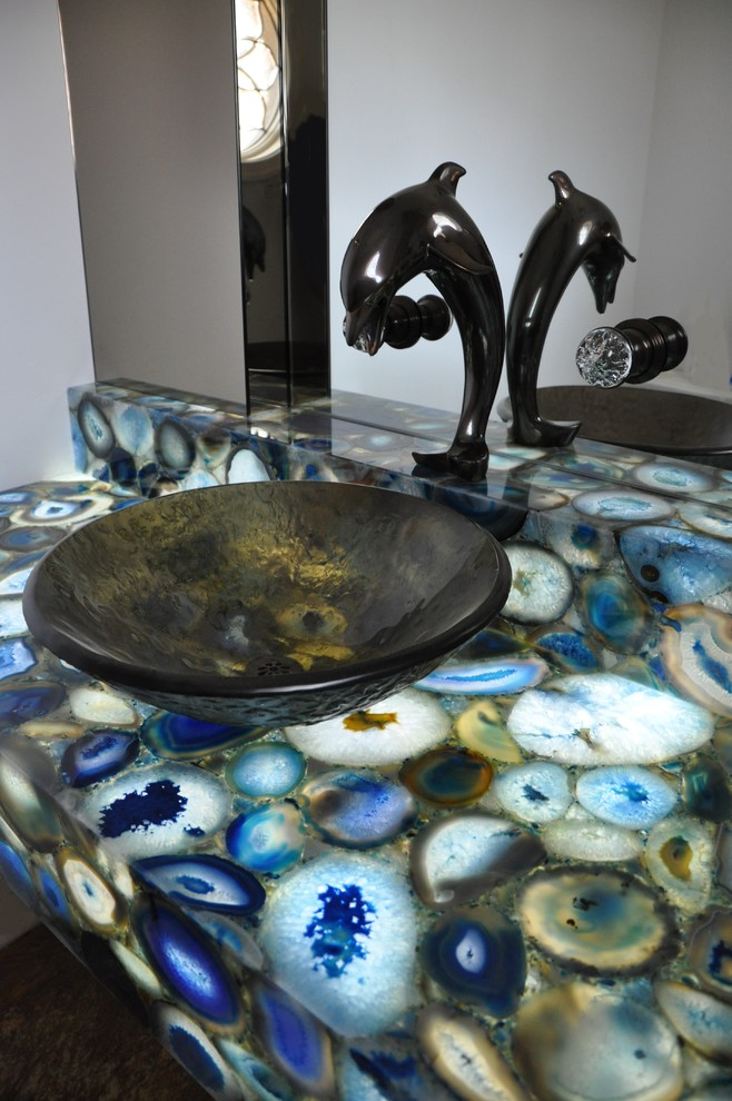 Inspiration for a powder room remodel in Orange County with blue countertops