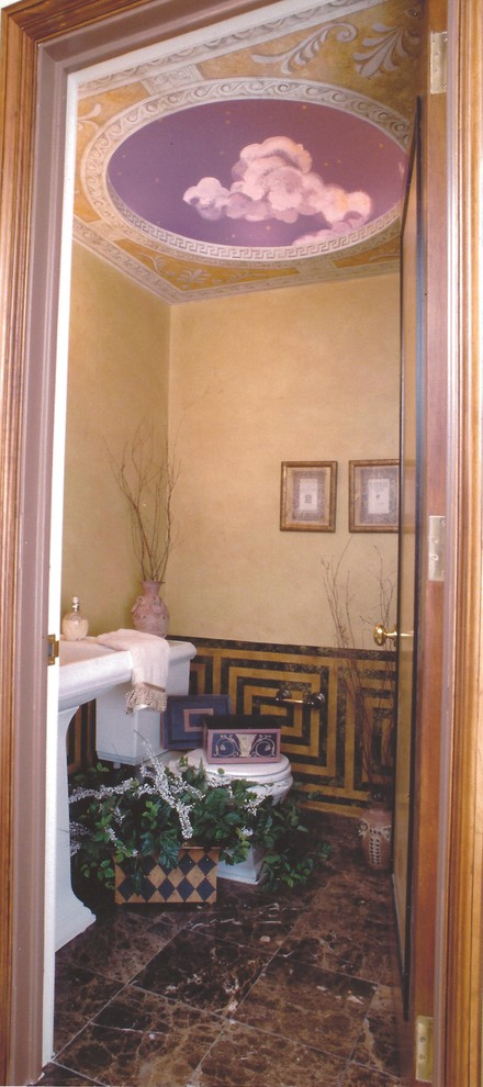 Inspiration for a small timeless marble floor powder room remodel in New York