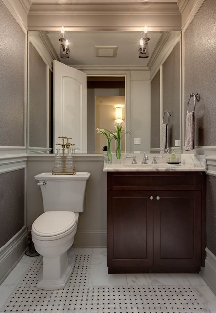Lincoln Park Row Home Transitional Powder Room