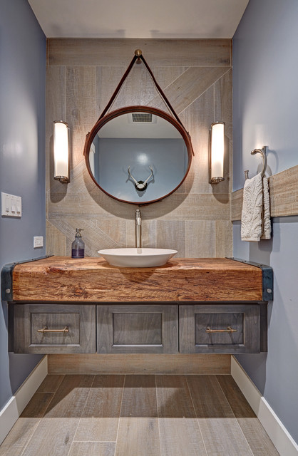 Loomis Industrial Eclectic Farmhouse Powder Room