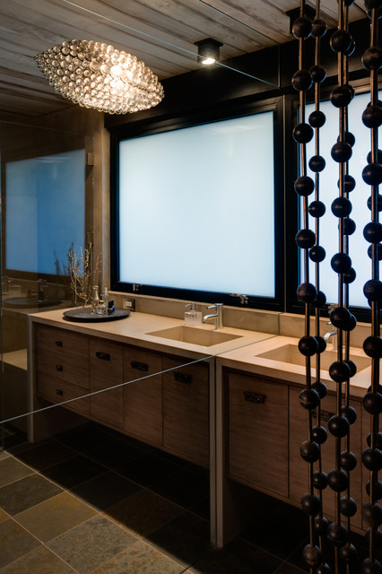 Trendy powder room photo in San Francisco with an integrated sink
