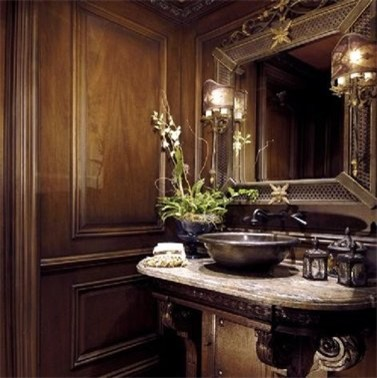 Luxurious wood details traditional powder room