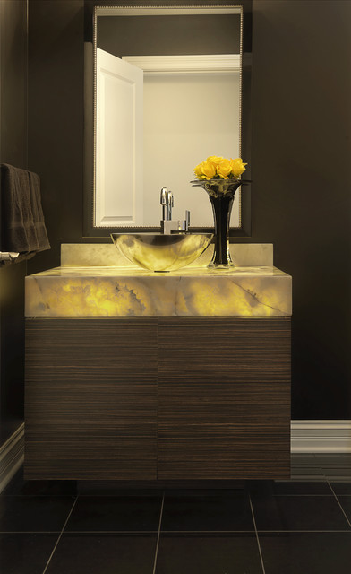 Luxury Condominium Contemporary Powder Room St Louis