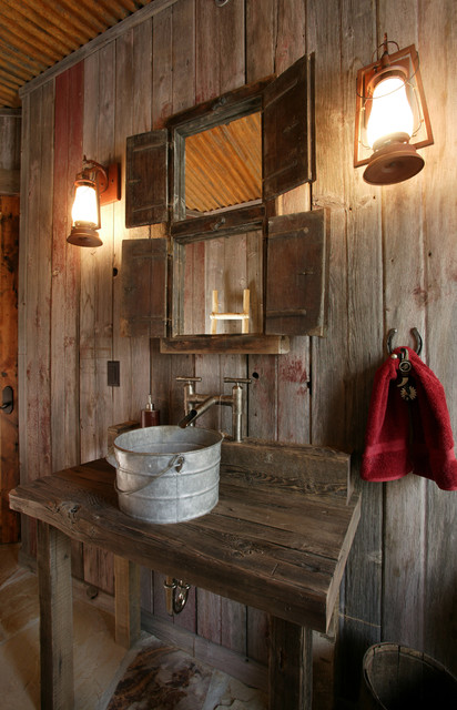 Lynne Barton Bier   Home On The Range Rustic Powder Room