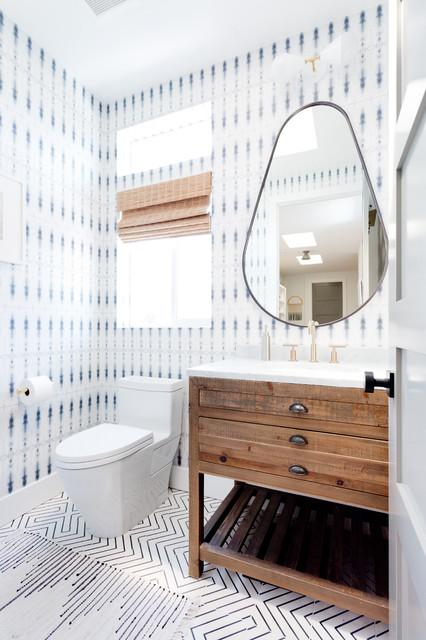 Malibu Beach House beach-style-powder-room