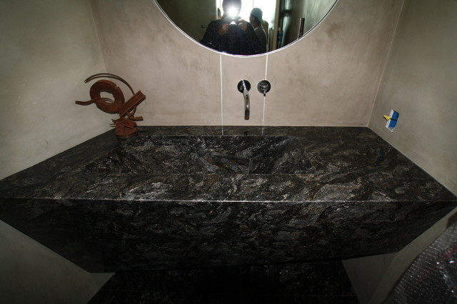 Malibu Pch Contemporary Powder Room Los Angeles By Boulevard Tile And Stone Inc