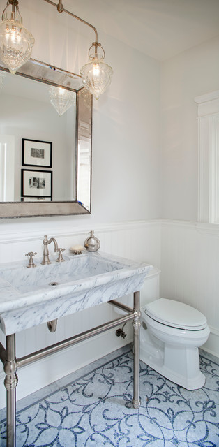 Inspiration for a mid-sized timeless blue tile and mosaic tile mosaic tile floor powder room remodel in Los Angeles with a console sink, marble countertops, a one-piece toilet, white walls and gray countertops