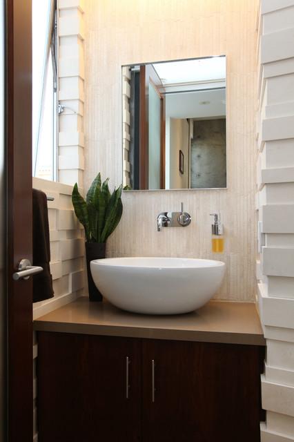 Manhattan beach ultra modern powder room remodel modern for Modern powder room design