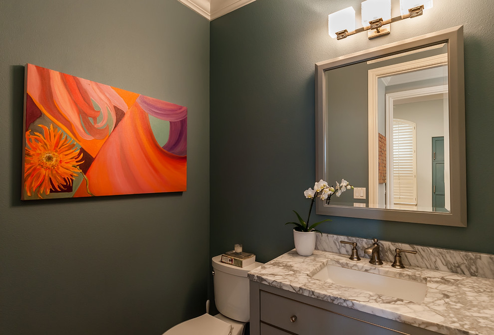 Inspiration for a coastal powder room remodel in Los Angeles