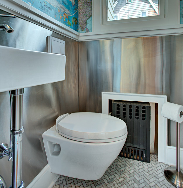 Powder room - small eclectic marble floor powder room idea in New York with a wall-mount sink, a wall-mount toilet and multicolored walls