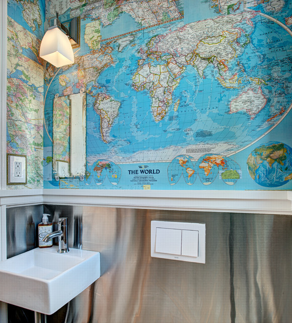 Map collage powder room eclectic powder room new york by map collage powder room eclectic powder room gumiabroncs Gallery