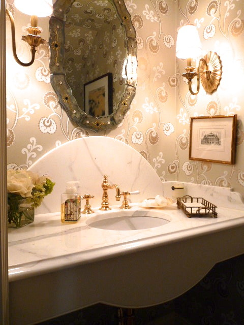 Marble and granite photos traditional-powder-room